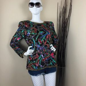 Oleg Cassini | Vintage 100% Silk Sequin Top